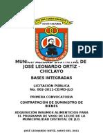 Adquisicion de Alimentos Para El Programa Del Vaso de Leche de La Municipal Id Ad Distrital de Jose Leonardo Ortiz Mes de Julio a Diciembre Del 2011
