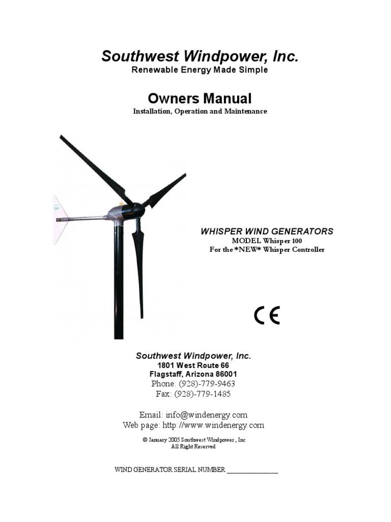 Whisper 100 Manual Wind Power Electric Generator Diagram Also Diagrams On Turbine