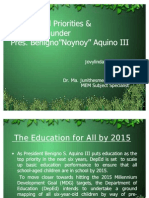 Educational Priorities and Innovation of PNoy- K+12 and EFA 2015