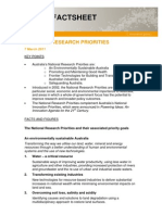 National Research Priorities Fact Sheet