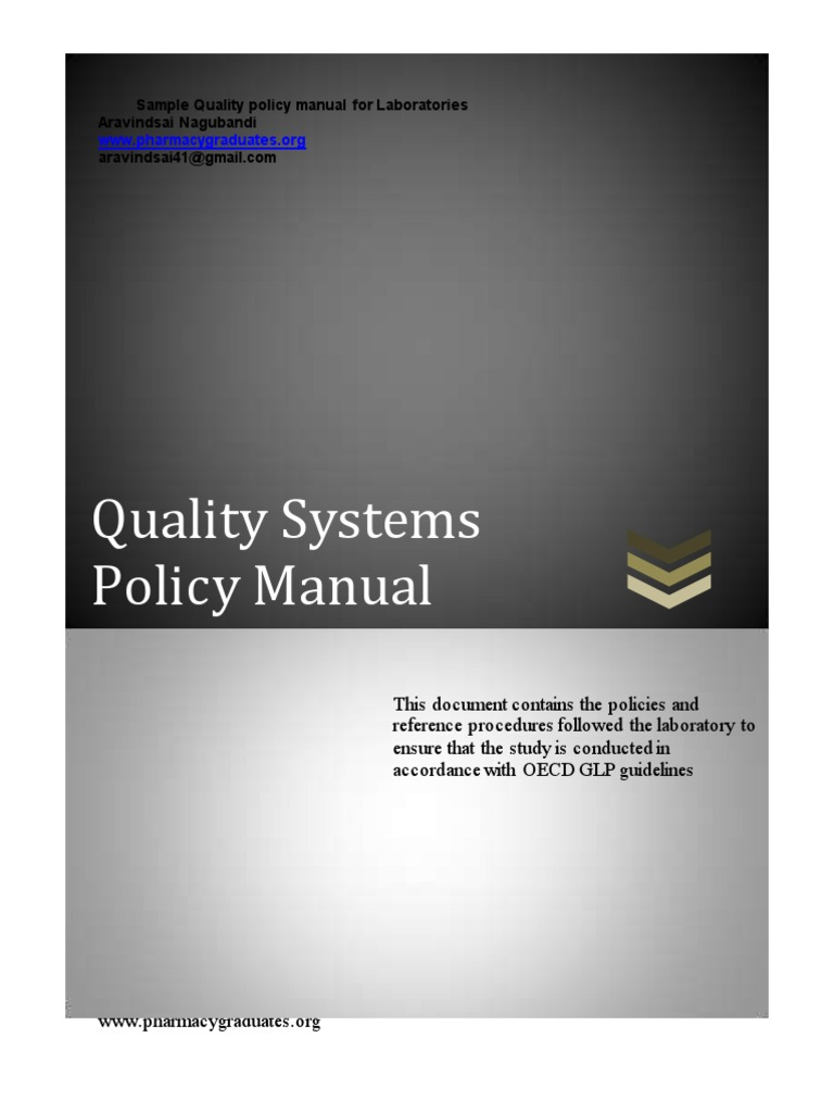 Sample Quality Manual for Laboratories | Business | Wellness