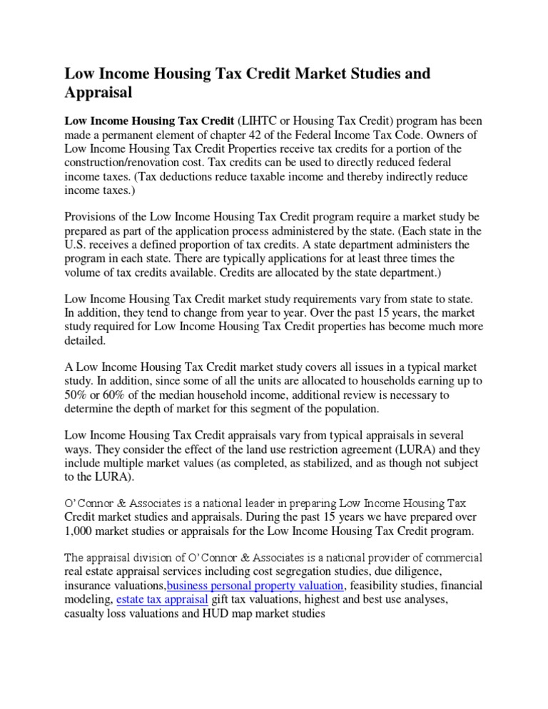 Low Income Housing Tax Credit Market Studies and Appraisal