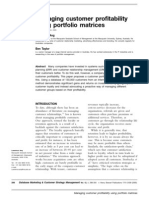 Managing Customer Profitability Using Por to Folio Matrices