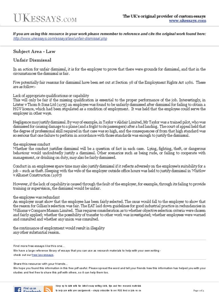 law essays unfair dismissal employment common law