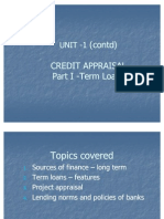 Credit Appraisal - Term Loans