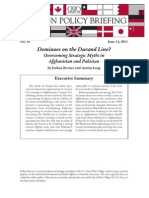 Dominoes on the Durand Line? Overcoming Strategic Myths in Afghanistan and Pakistan, Cato Foreign Policy Briefing No. 92