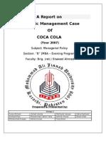 Coca Cola a Report on Strategic Management