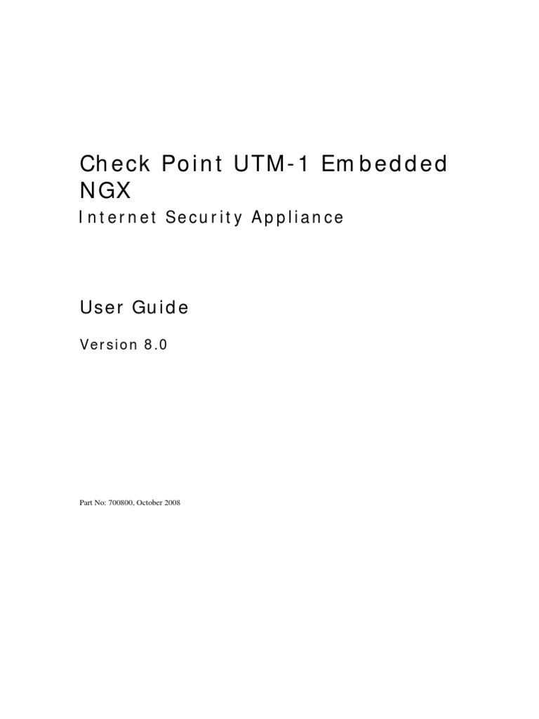 Checkpoint UTM-1 Embedded NGX 8 UserGuide | Free Software | License