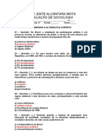AVALIAÇÃO DE SOCIOLOGIA - 2º ANO / 2º BIMESTRE