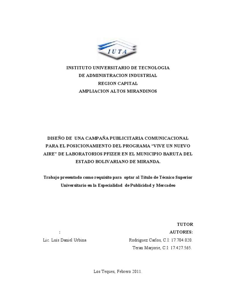 TESIS CAMPAÑA PUBLICITARIA VIVE UN NUEVO AIRE