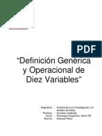 Definición Genérica y Operacional de Diez Variables