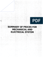 Summary of Prices for M & E System