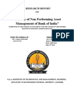 """A study of Non Performing Asset Management of Bank of India"""