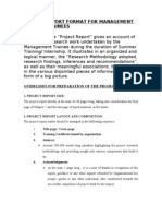 Project Report Format for Management Summer Trainees