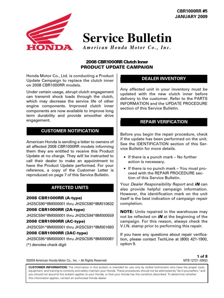 Honda Umbauanleitung Von American Honda Motor Rueckruf Kupplung 2009 |  Clutch | Nut (Hardware)