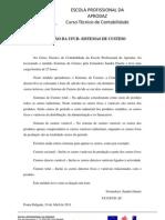 REFLEXÃO DA UFCD- SISTEMAS DE CUSTEIO