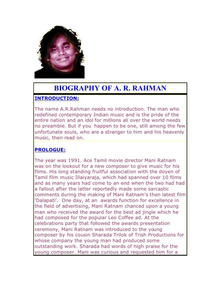 Biography Of A R Rahman Leisure Entertainment General