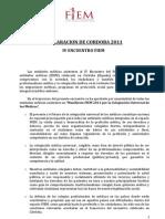 Declaracão de Cordoba 2011 - IV Encontro FIEM