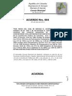 Acuerdo Nro. 004 01-06-11 (REGLAMENTO INTERNO CONCEJO SOPETRÁN)