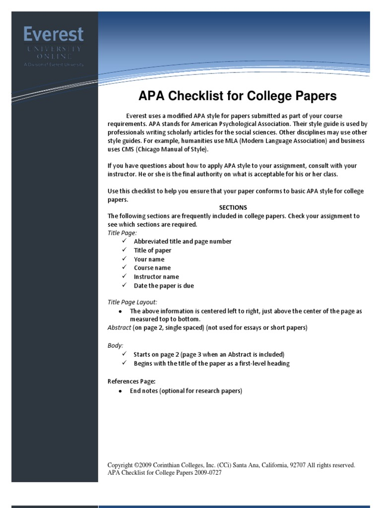 apa style research paper sections