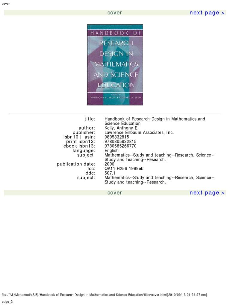 Handbook of research design in mathematics and science education handbook of research design in mathematics and science education science education science buycottarizona