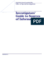 GAO Investigators' Guide to Sources of Information