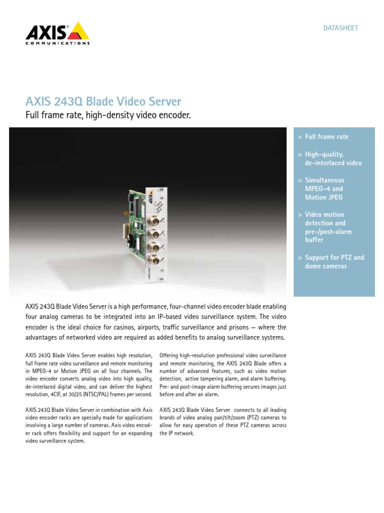 Axis 243q | Video | Closed Circuit Television