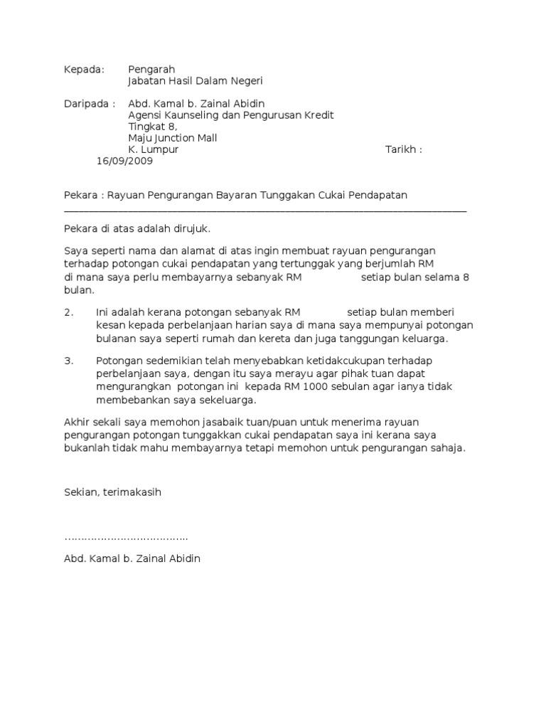 Surat Rayuan Lhdn Contoh Jalan Permata 3