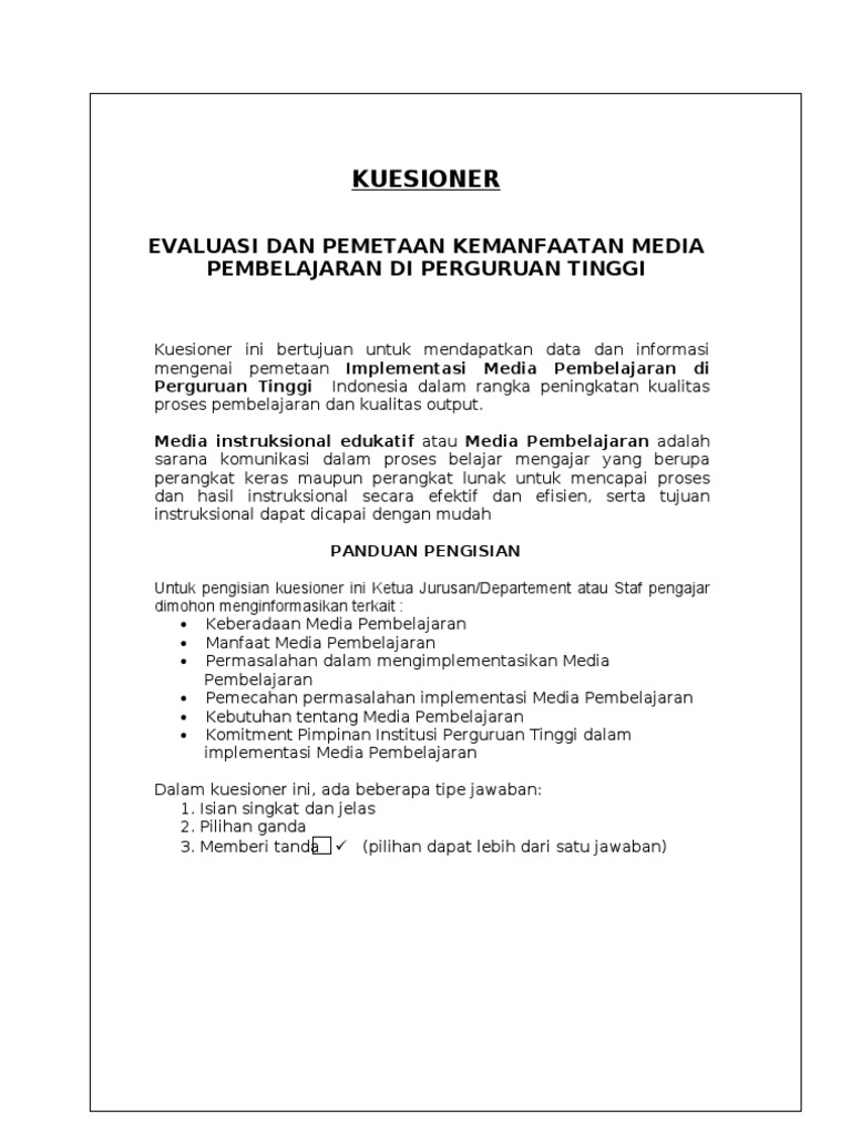 Kuesioner Media Pembelajaran