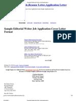 Sample Editorial Writer Job Application Cover Letter Format _ Cover Letter Sample,Resume Letter,Application Letter