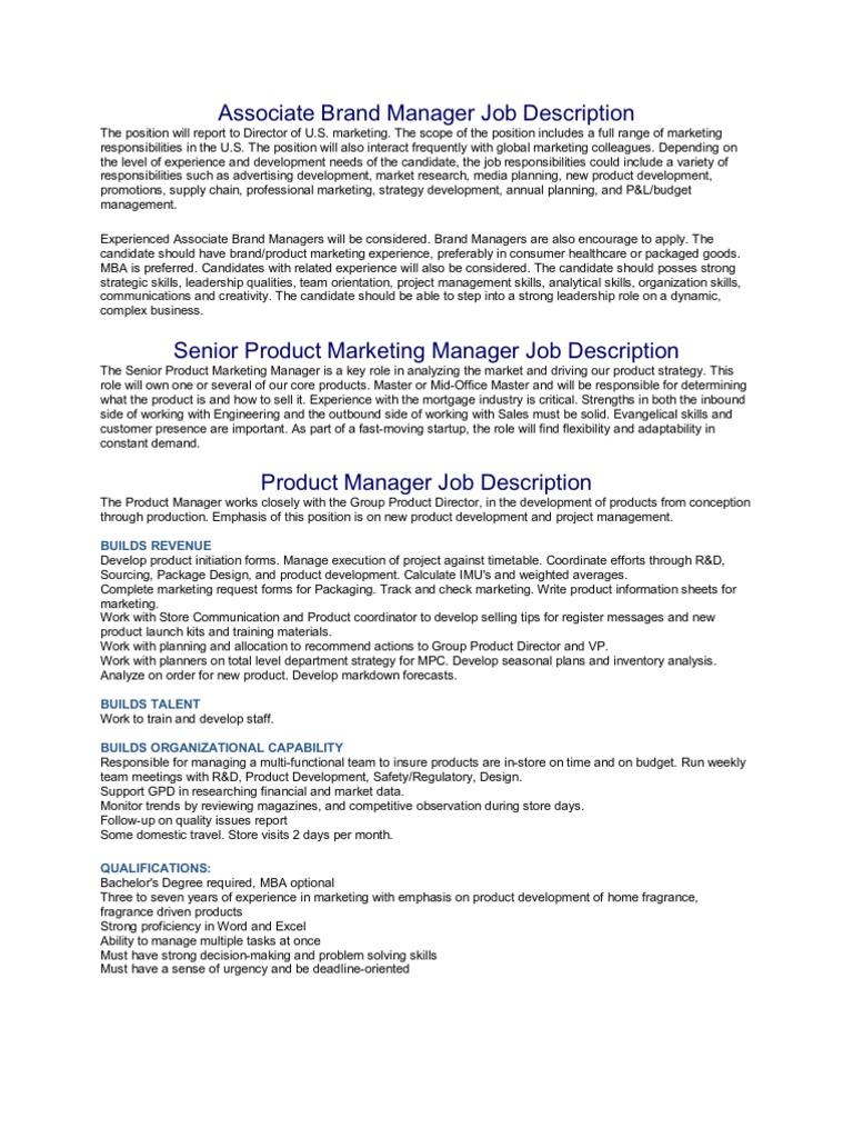 Elegant Associate Brand Manager Job Description | Marketing | Marketing Research Gallery