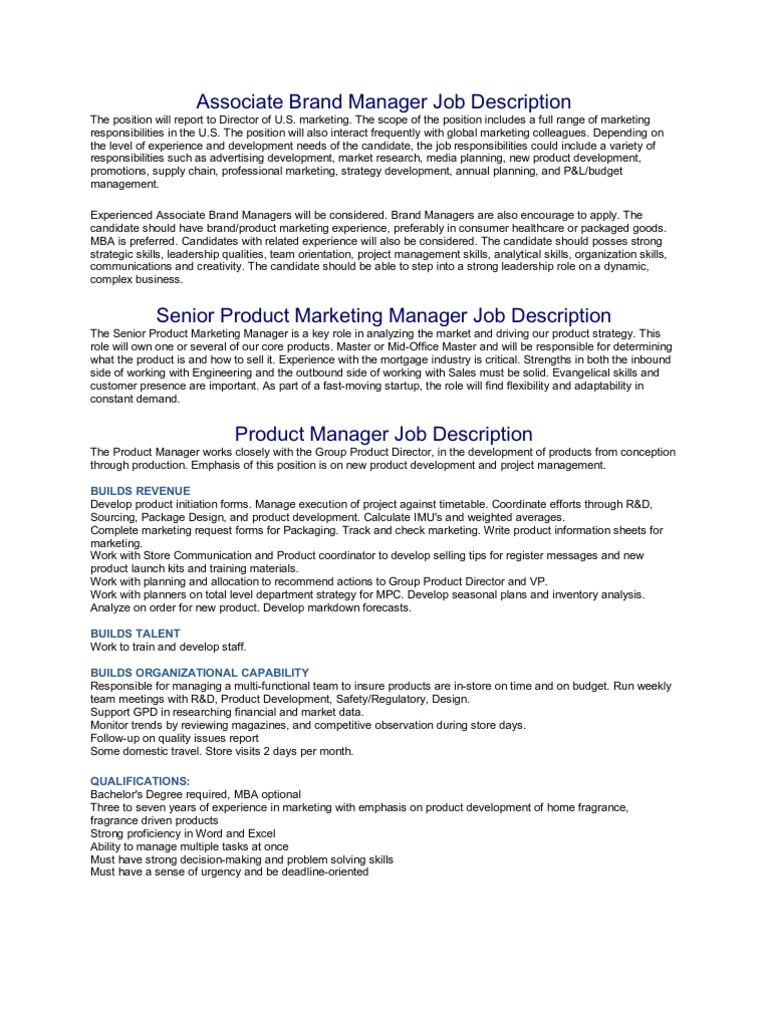 Associate Brand Manager Job Description | Marketing | Marketing Research