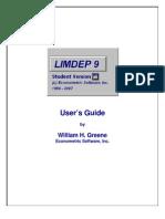 LIMDEP Short Student Manual 9.0