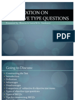 Presentation on Objective Type Questions