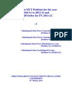 Chattisgarh CSERC MYT Tariff Order for State Power Companies 2011-12