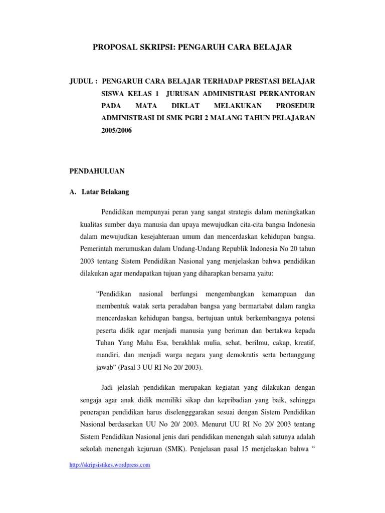 Contoh Proposal Skripsi Ex Pos Facto