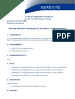 Release Note Falcon WinCE 3.16 Firmware
