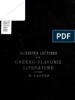 Gaster Moses _ Ilchester Lectures _ Greeko-slavonic Literature