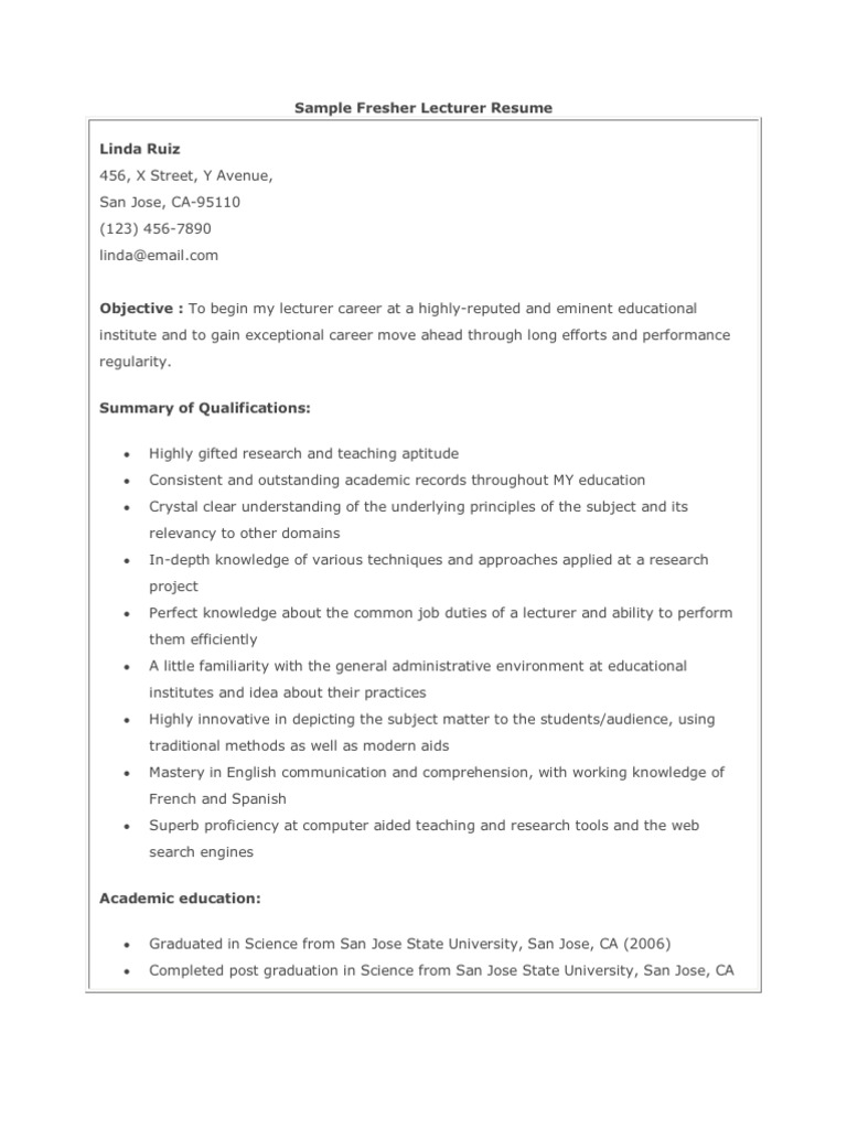 sample fresher lecturer resume