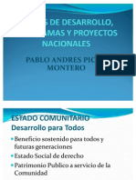 Planes de Desarrollo Programas y Proyectos Nacionales