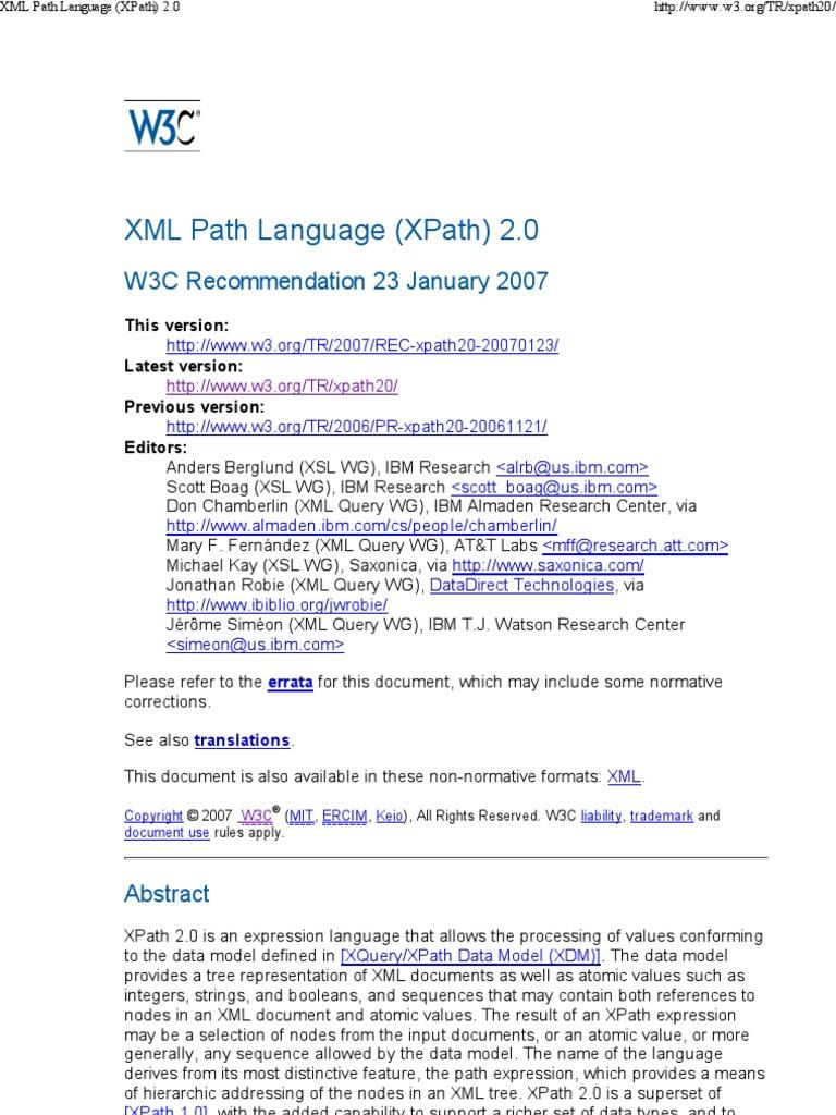 W3C.xml Path Language (XPath) ...