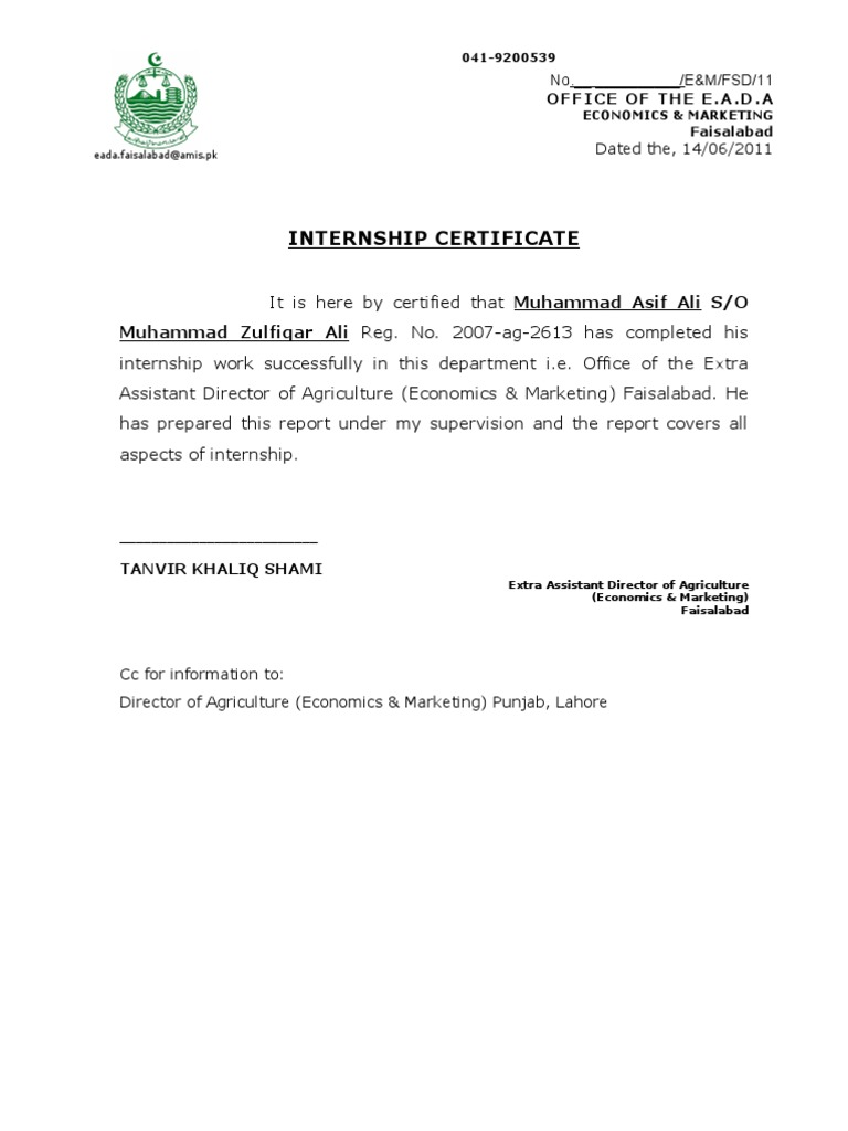 Internship certificate yadclub Image collections