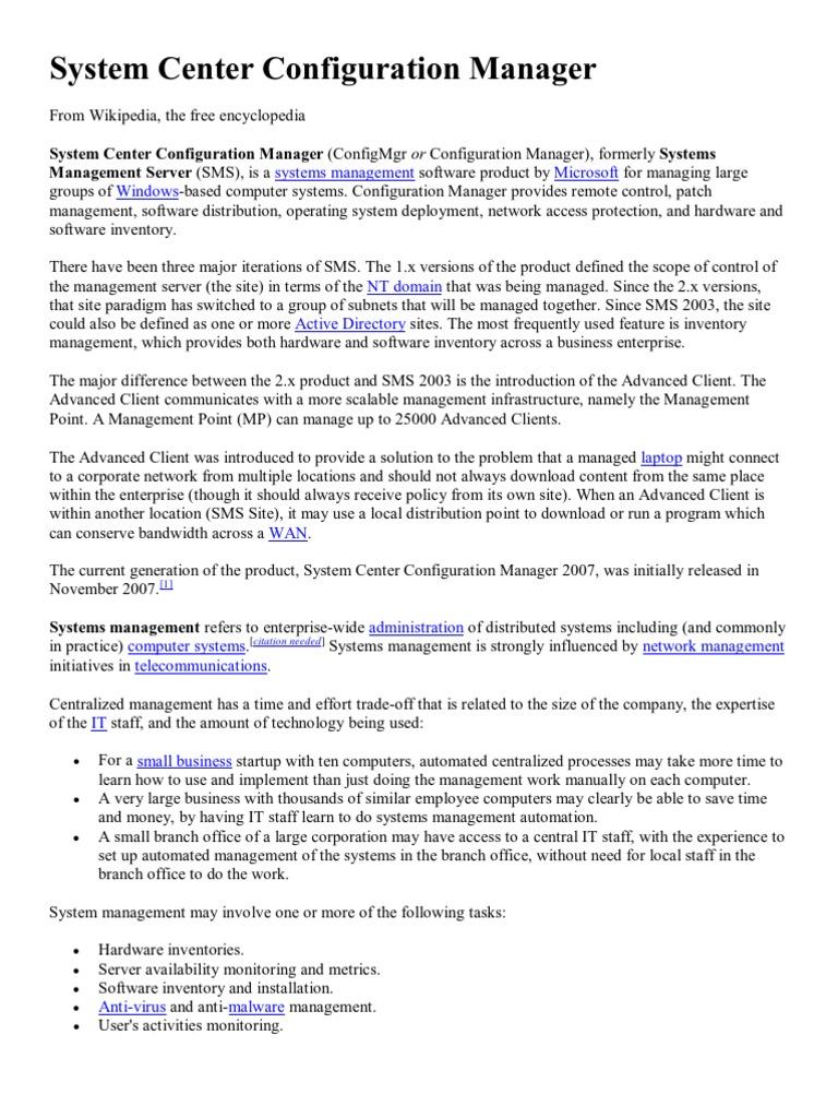 Systems Management Microsoft Windows: C (Configmgr M