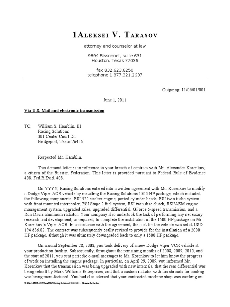demand letter sample car accident
