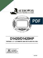 Audiovox D1420 Portable DVD Player
