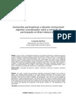 Instituicoes Partcipativas e Desenho Institucional