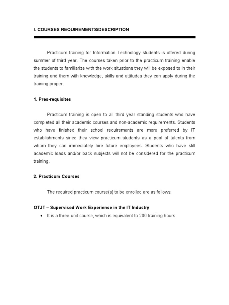 ojt practicum final paper What can i recommended for the improvement of the practicum ojt program essays and research papers ojt practicum final paper.
