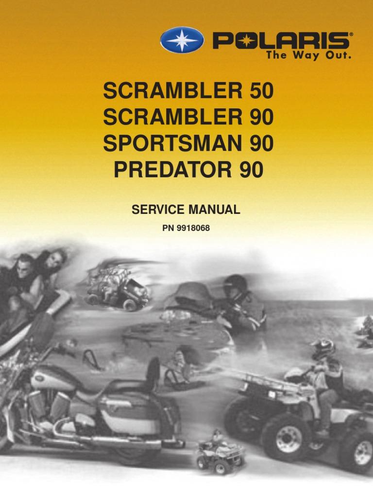 2003 polaris scrambler 50 90 sportsman 90 predator 90 service manual rh scribd com Polaris Predator 90 Fuse 2004 Polaris Predator 90 Manual