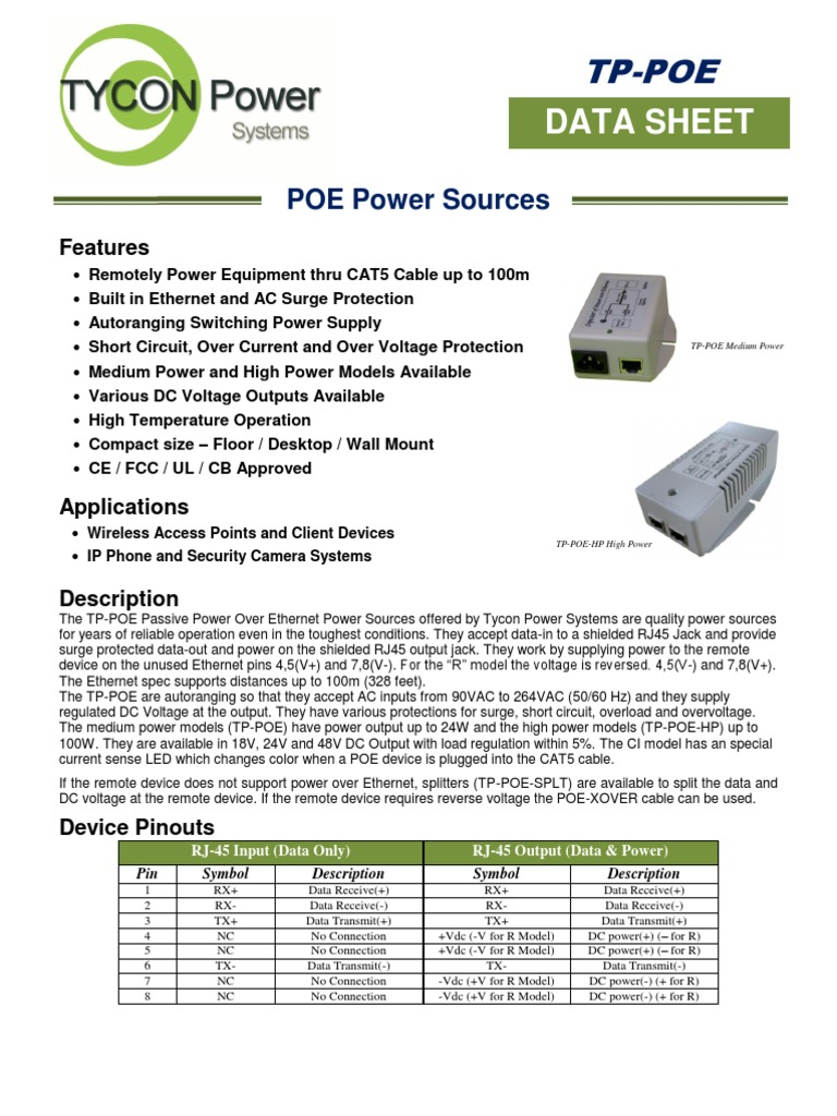 Tps Poe Power Source Spec Sheet Electric Electrical Over Ethernet Or Which Is A Much Higher Voltage And Not Engineering