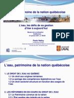 L'eau, patrimoine de la nation québécoise
